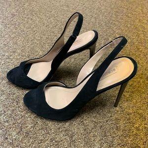 BCBG 4 inch black suede peep toe heels size 7.5